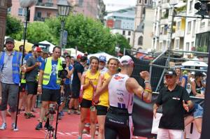 Hans  crossing the finishline, he knew he was in for Hawai! Happy and well deserved! West-Vlaanderen has a top Ironman agegroup racer!