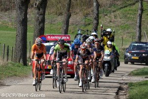 Klaas leading in Amstel Gold Race 2013 after 200K in the breakaway! Together with Mikel Astarloza, Nicolas Vogondy, Johan Vansummeren,...