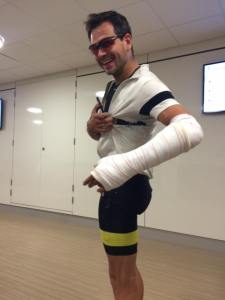 No, David this is not a costume  for Tomorrowland. David got  2 fractures in his wrist after a bikecrash, for which he'll get surgery next week.  But already he's determined to not let this affect his motivation, he's already back on the turbo and soon he'll be running again!