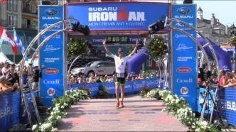 Sam finishing 8th overall in Ironman Mount Tremblant (Canada) as 40year old amateur.