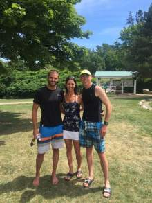 Corey, Heather and Allan in Bridgetown! A clean sweep once again in hot temperatures!