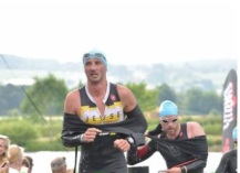 Stijn finishing his first IM in Wales
